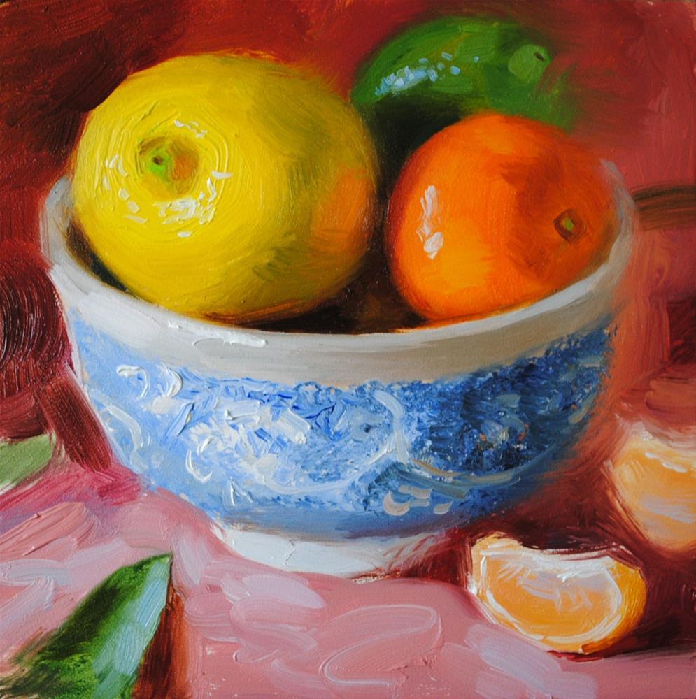 """Bowl of Citrus"" original fine art by Elena Katsyura"