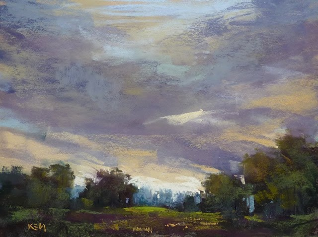 """Painting a Moody Sky in a Landscape Painting"" original fine art by Karen Margulis"