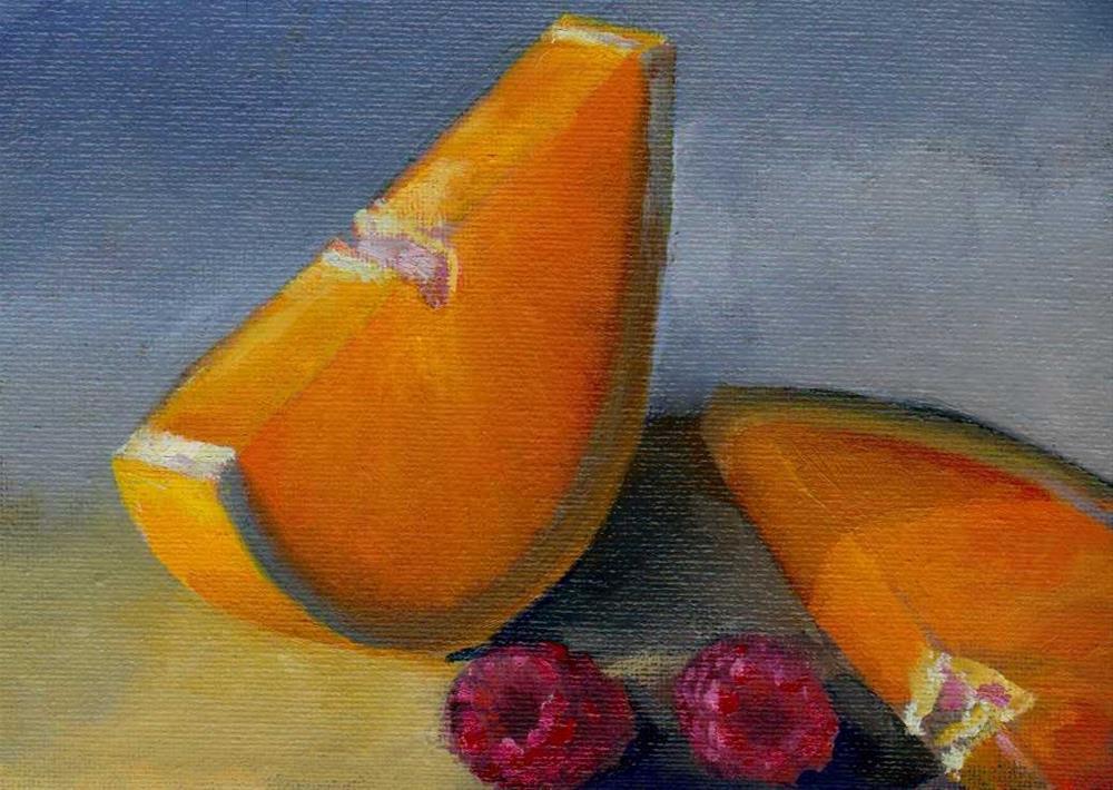 """slices of orange and raspberry"" original fine art by Mark DeBak"