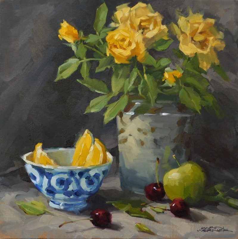 """Lemons, Roses & Cherries"" original fine art by Karen Werner"