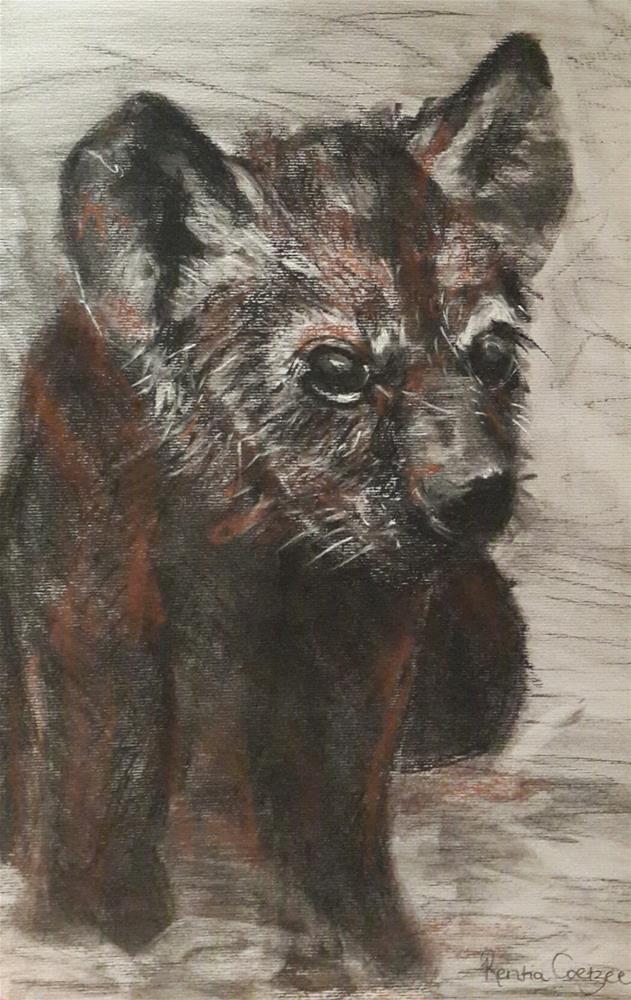 """Hyena cub"" original fine art by Rentia Coetzee"
