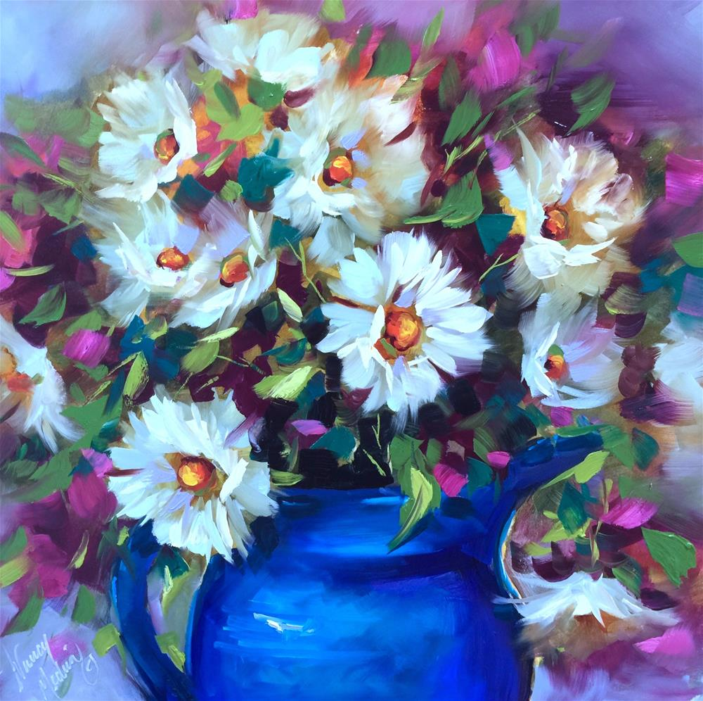 """""""Color Boot Camp and Dizzy Daisies"""" original fine art by Nancy Medina"""