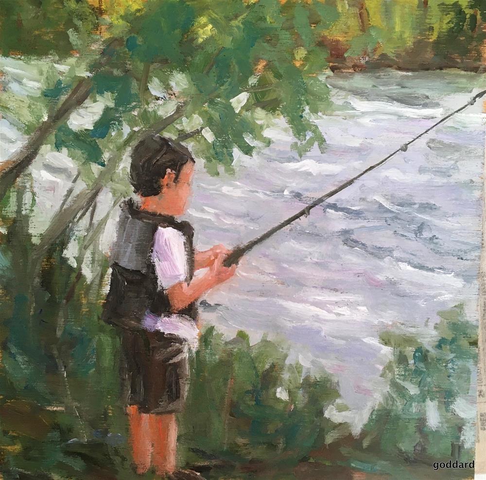 """Secret Fishing Hole"" original fine art by Shari Goddard Shambaugh"