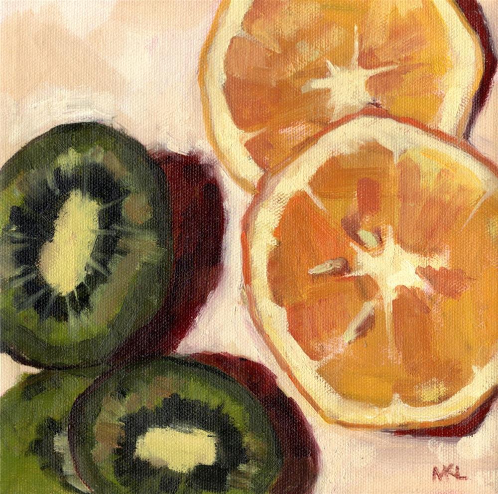 """Avocadoes and Grapefruit Halves"" original fine art by Marlene Lee"
