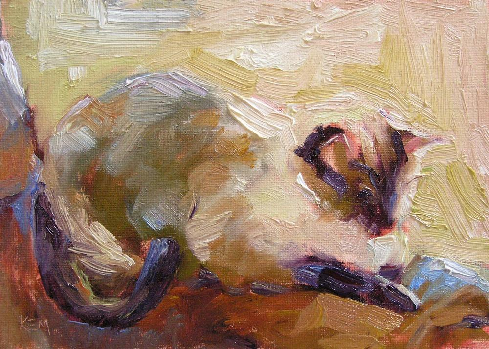 """Siamese Cat at Rest"" original fine art by Karen Margulis"