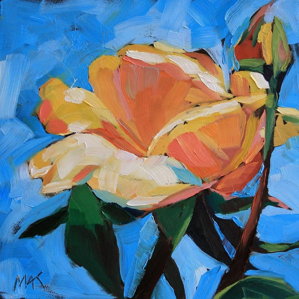"""""""Rose and Bud"""" original fine art by Mary Anne Cary"""