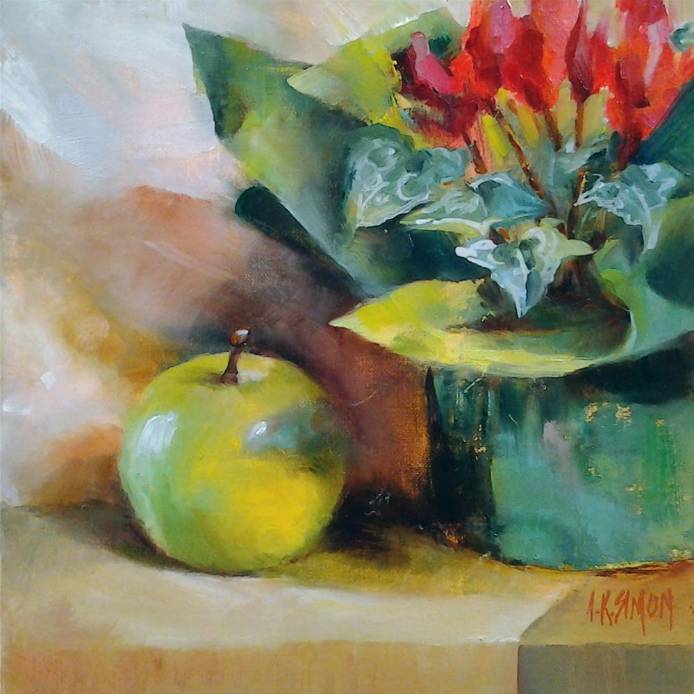 """Unwrapping the Cyclamen"" original fine art by A.K. Simon"