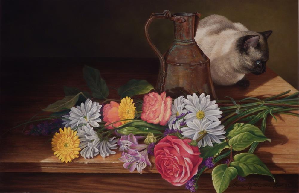 """""""Background Mischief"""" original fine art by Elaine Guitar van Loo"""
