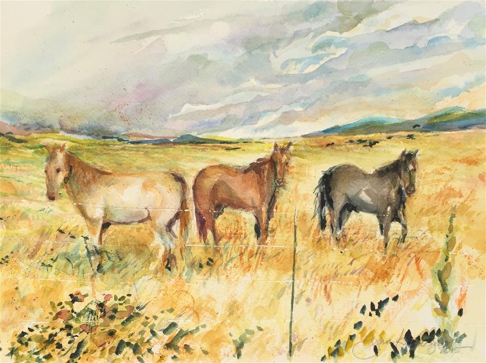 """""""Three Horses"""" original fine art by Jean Krueger"""