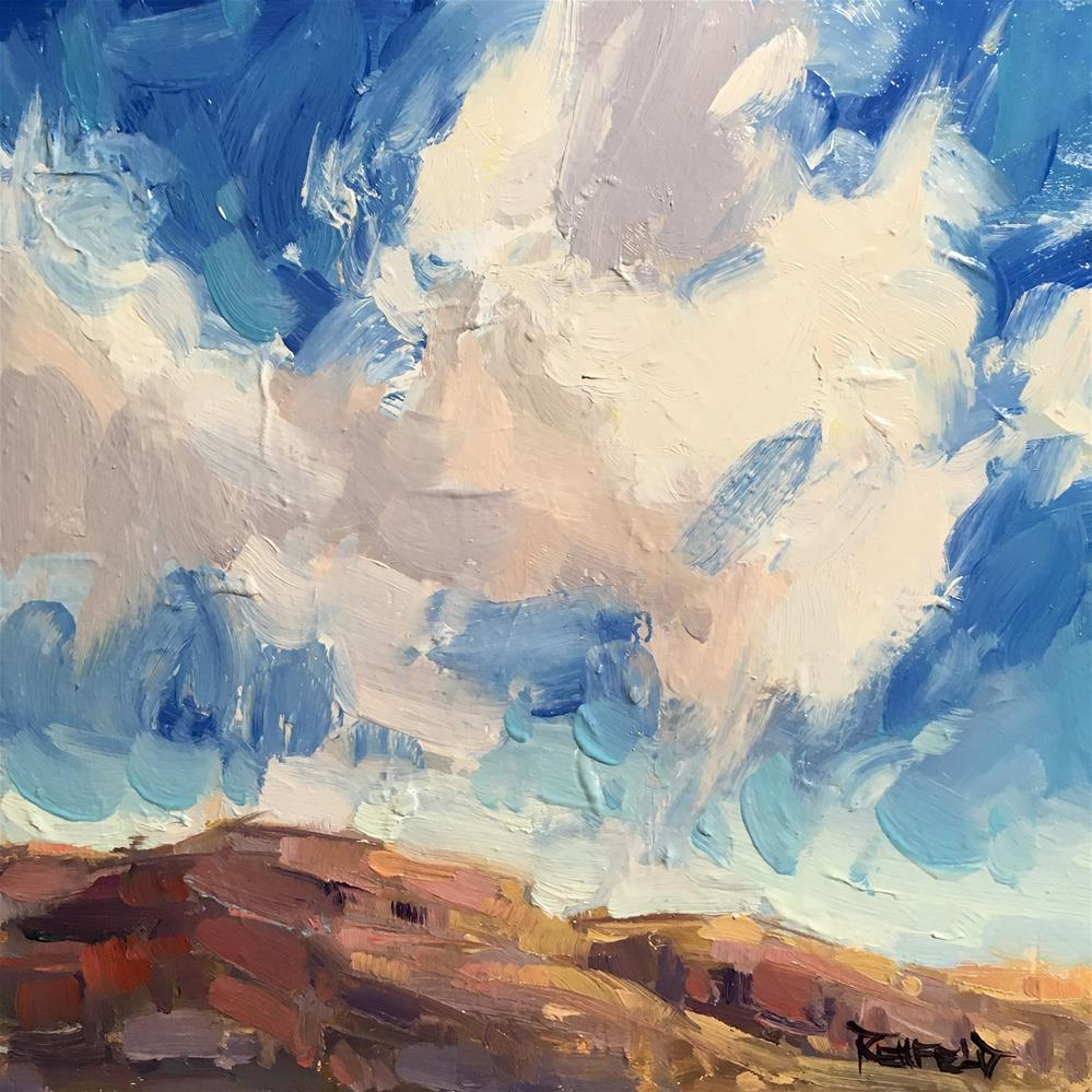 """Painterly Clouds Out East"" original fine art by Cathleen Rehfeld"