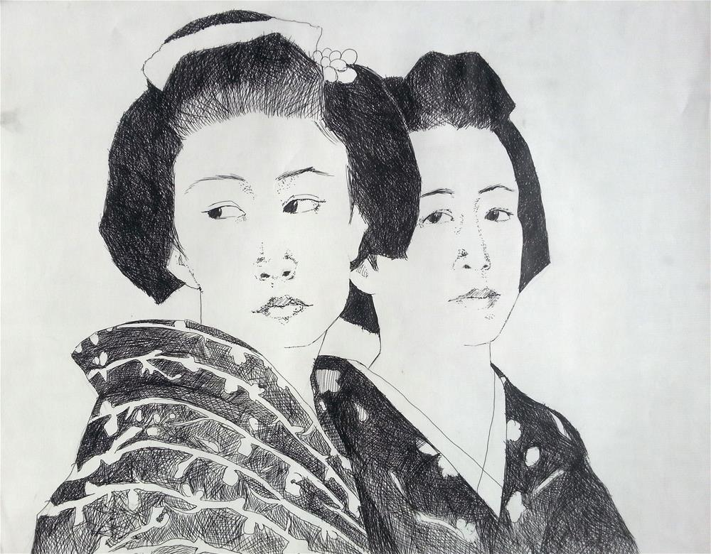 """Geisha Sisters"" original fine art by Nava Judith"