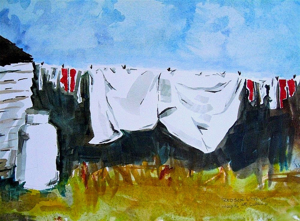 """Red Socks Line-up"" original fine art by Judith Freeman Clark"