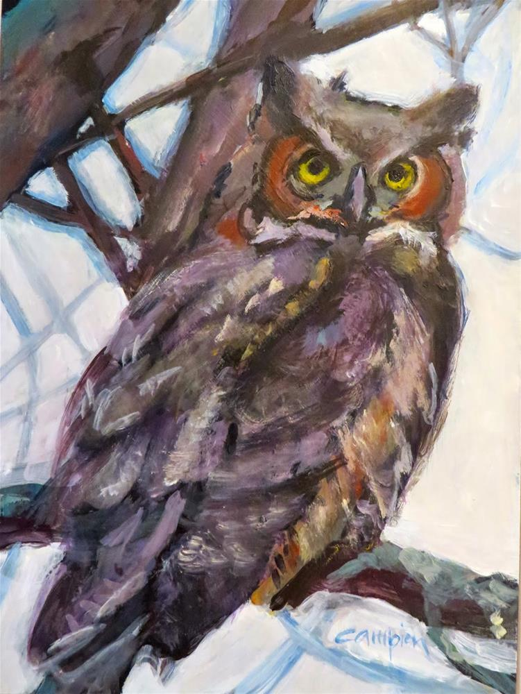 """595 Mama Great Horned Owl"" original fine art by Diane Campion"