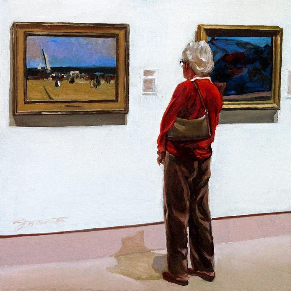 """""""Memorizing-Painting People in Art Gallery Series"""" original fine art by Joanna Bingham"""