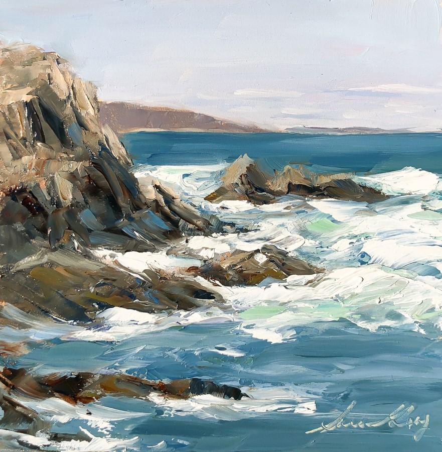 """#214 - Rocks & Surf - Fort Williams - Maine"" original fine art by Sara Gray"