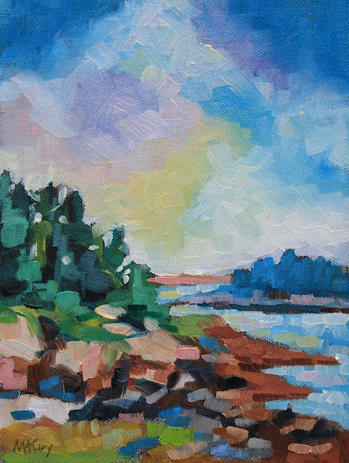 """""""Maine Landscape #19"""" original fine art by Mary Anne Cary"""
