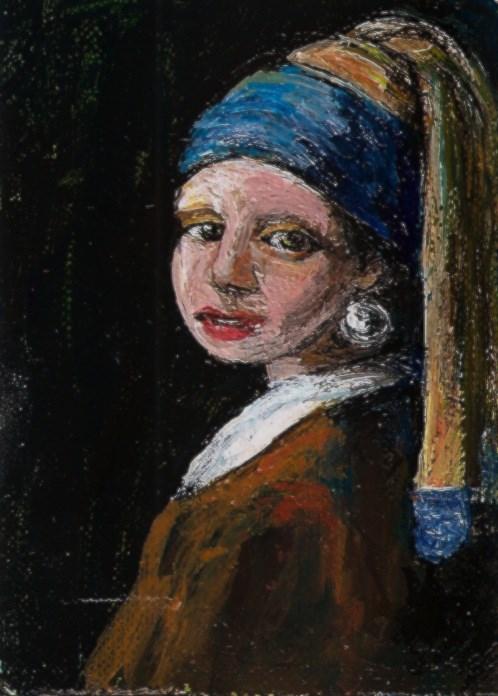 """""""ACEO Vermeer Girl with Pearl Earring Miniature Masters Series Penny StewArt"""" original fine art by Penny Lee StewArt"""