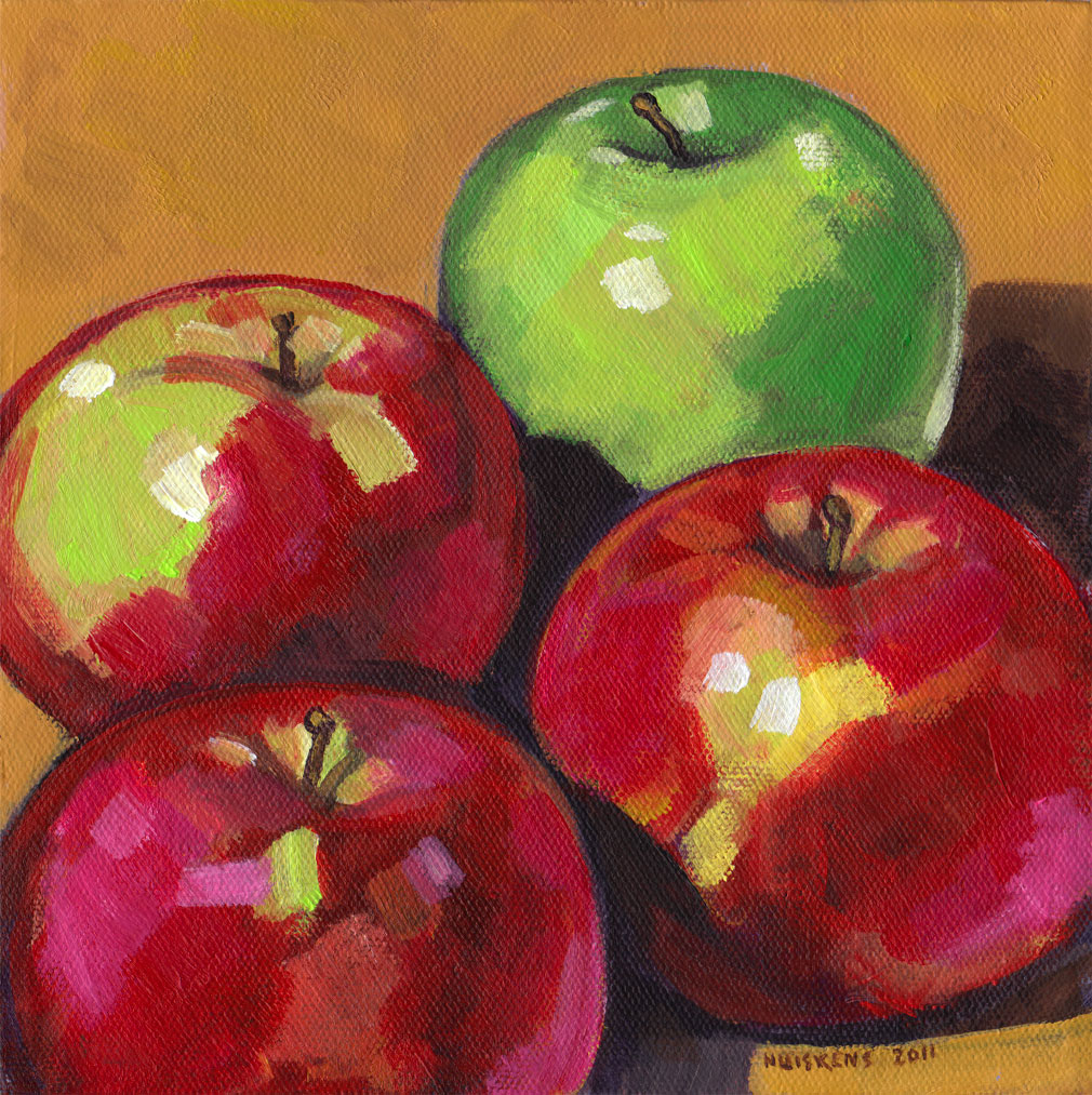 """""""Green And Red Apples No. 5"""" original fine art by Randal Huiskens"""