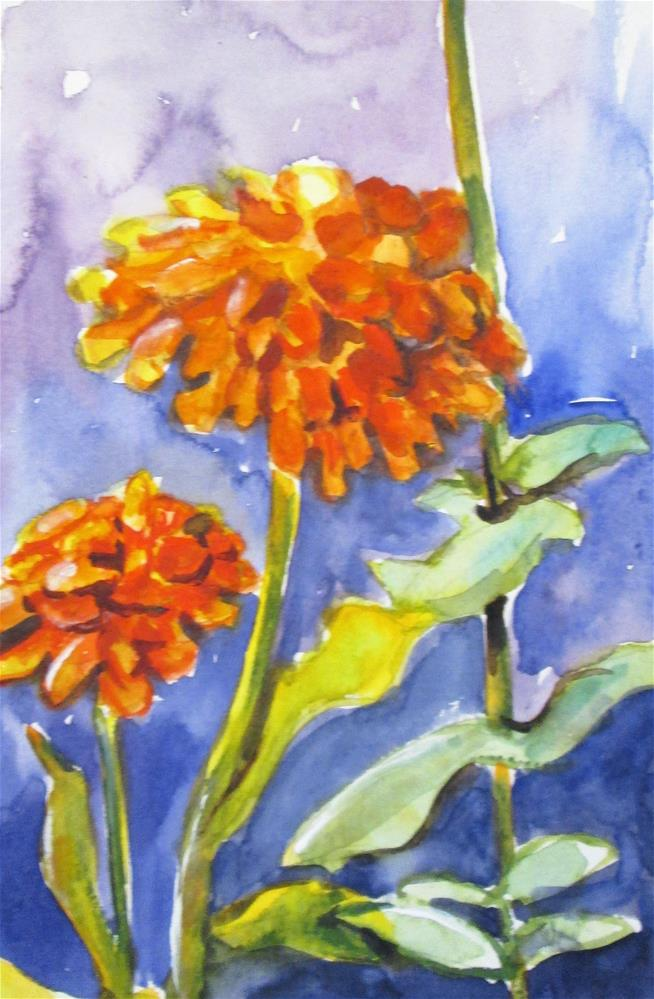 """Zinnias"" original fine art by Delilah Smith"