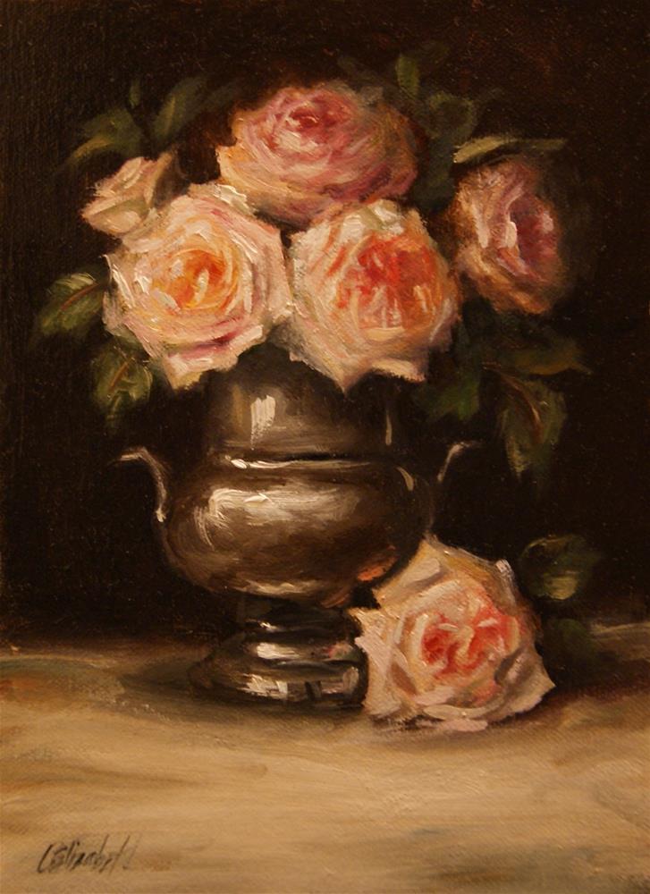 """Old English Roses in Silver,  Oil on 6x8 Linen Panel"" original fine art by Carolina Elizabeth"