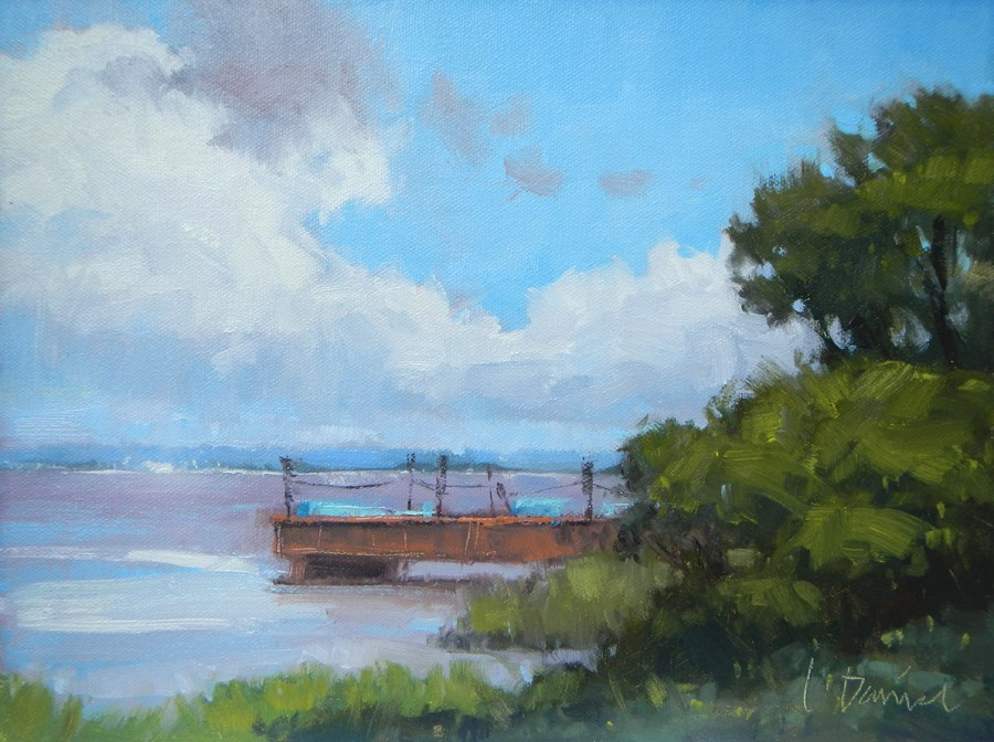 """Rusted Shipyard Dock"" original fine art by Laurel Daniel"