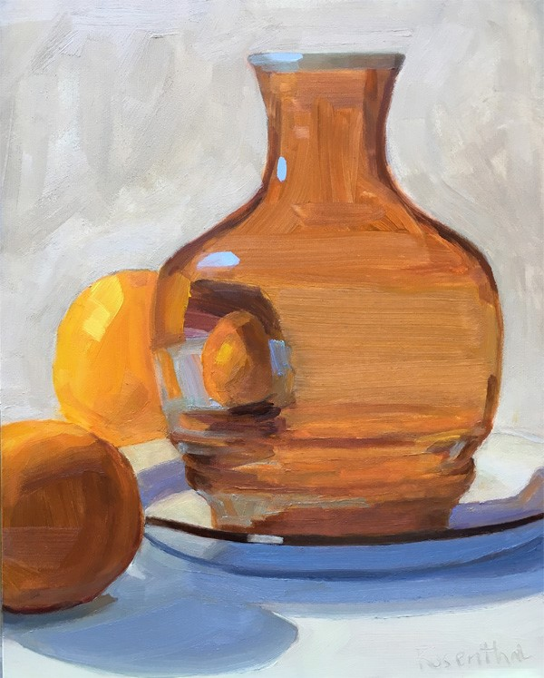 """Amber Vase and Two Oranges"" original fine art by Robin Rosenthal"