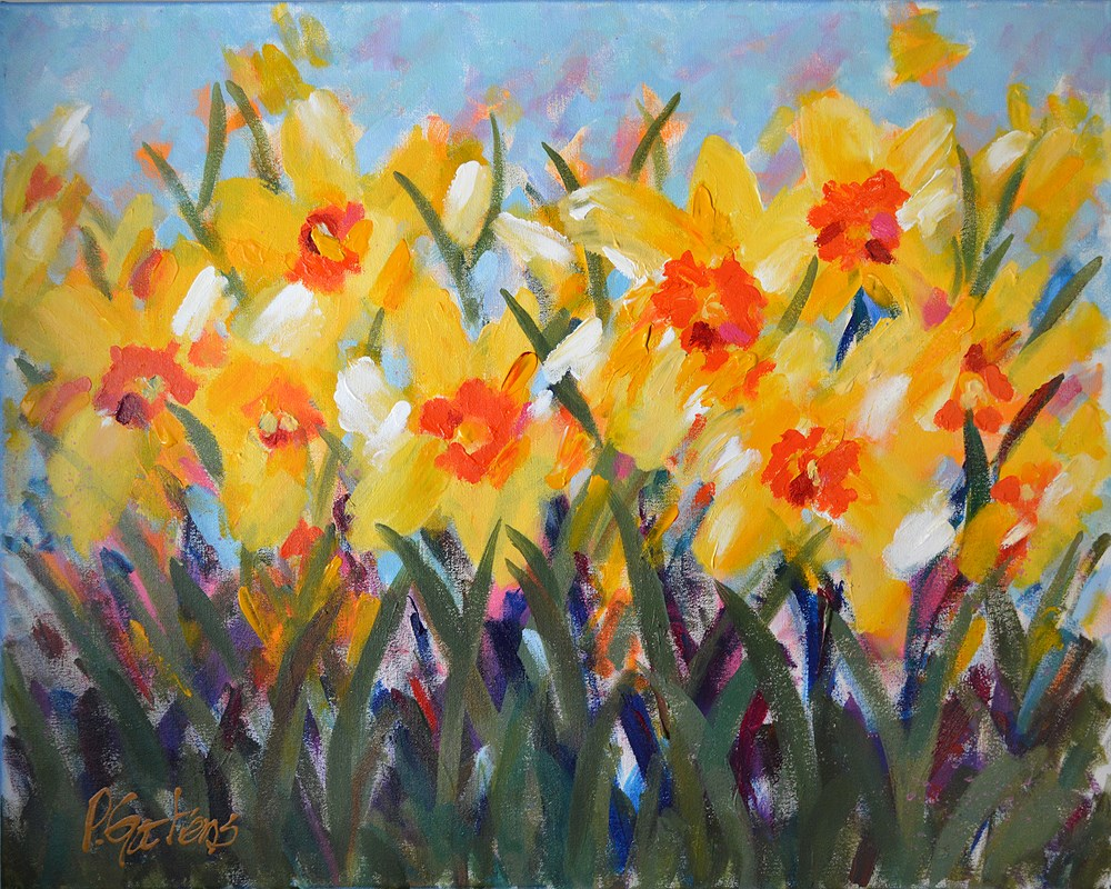 """Yellow Spring Daffodils"" original fine art by Pamela Gatens"