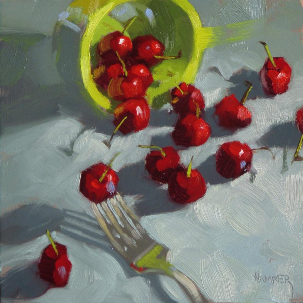 """""""16 Cherries and a fork 6 x 6 oil"""" original fine art by Claudia Hammer"""