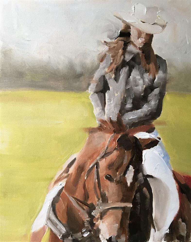 """Cow Girl"" original fine art by James Coates"