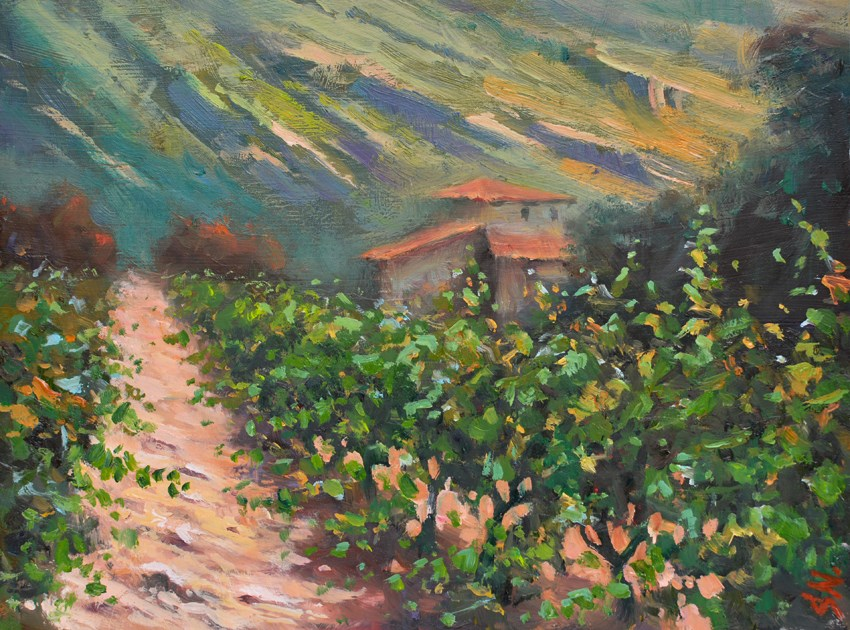 """Tuscany vineyard – Italian countryside, Landscape oil painting on Gesso board"" original fine art by Nick Sarazan"