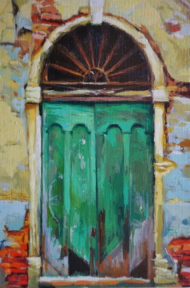 """""""Green door"""" original fine art by Víctor Tristante"""