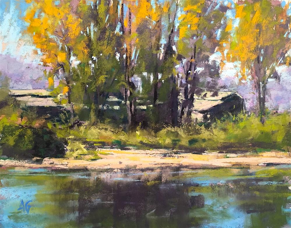 """""""Across the river Best of Show at the Northwest Pastel Society Small works Exhibit 2016  Sold at the IAPS convention exhibit."""" original fine art by Alejandra Gos"""
