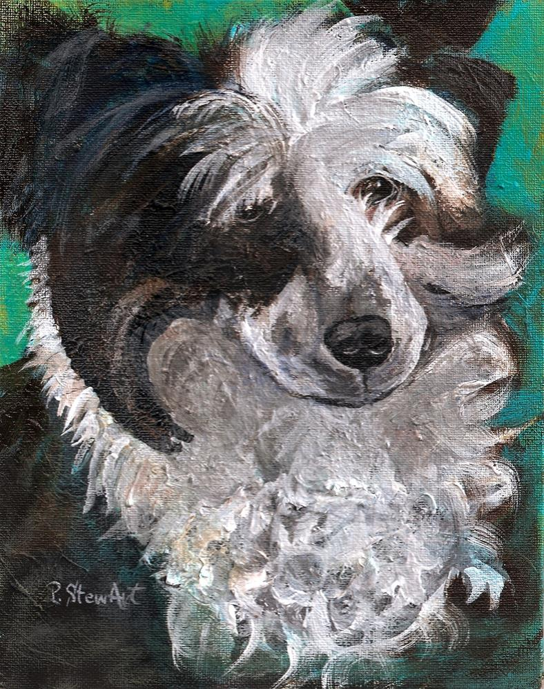 """8x10 Moondoggie Painted Pet Portrait of a Chinese Crested Powderpuff dog Penny StewArt"" original fine art by Penny Lee StewArt"