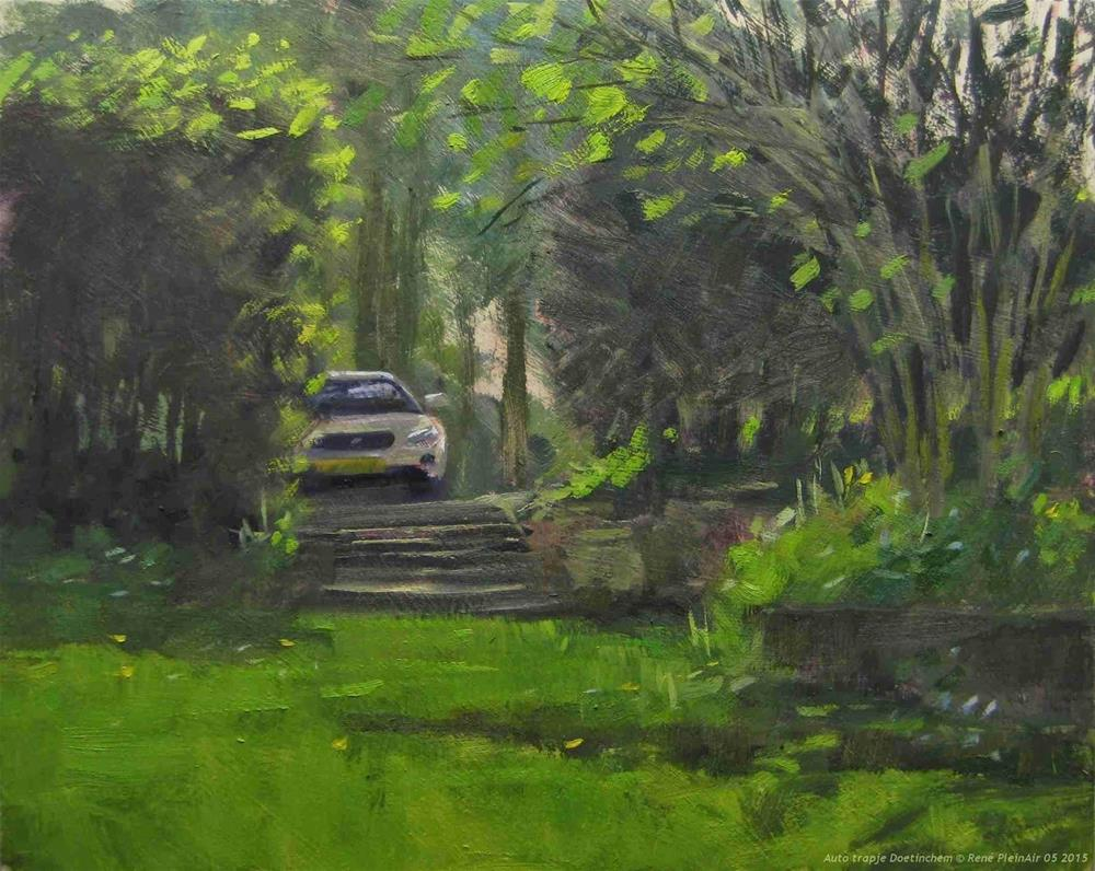 """Car on steps Doetinchem The Netherlands"" original fine art by René PleinAir"