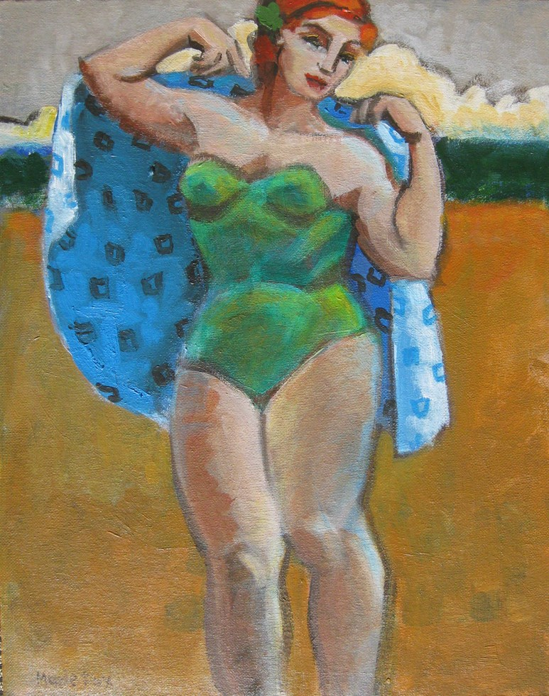 """""""Figurative painting of woman at beach, ocean, contemporary figure painter, female figuration"""" original fine art by Marie Fox"""