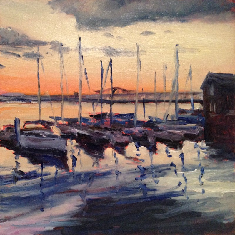 """""""Last Light on the Water Ii, Day 100"""" original fine art by Claudia L Brookes"""