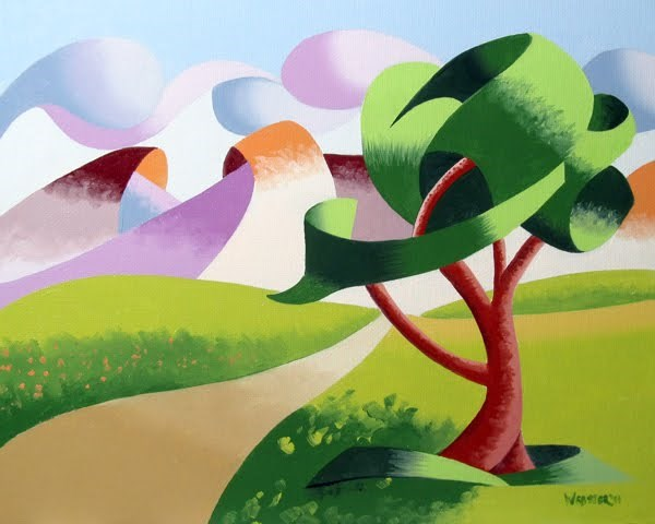 """""""Mark Webster - Abstract Geometric Foothill Road Landscape Oil Painting"""" original fine art by Mark Webster"""