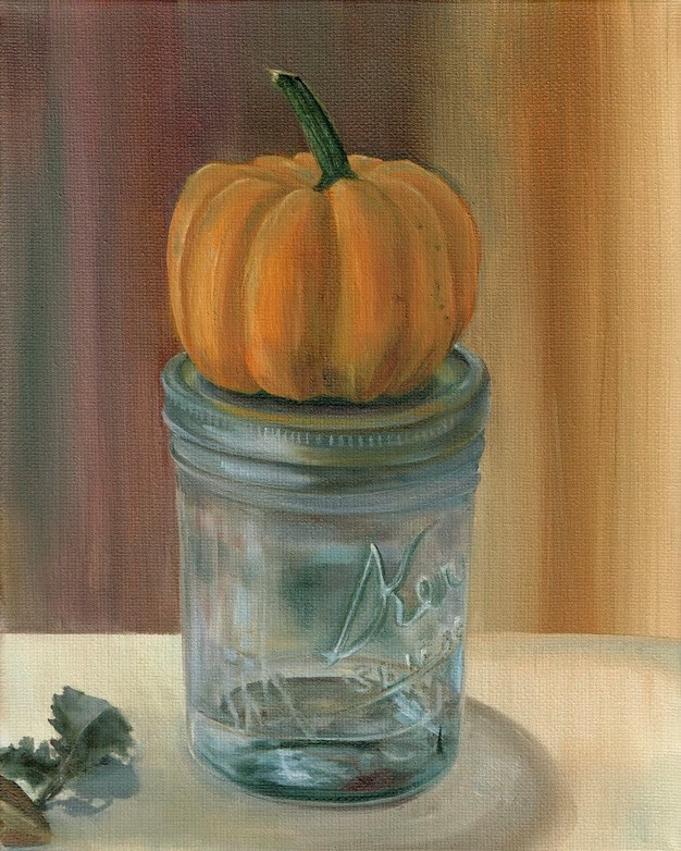 """Pumpkin and Glass"" original fine art by Karen Stitt"