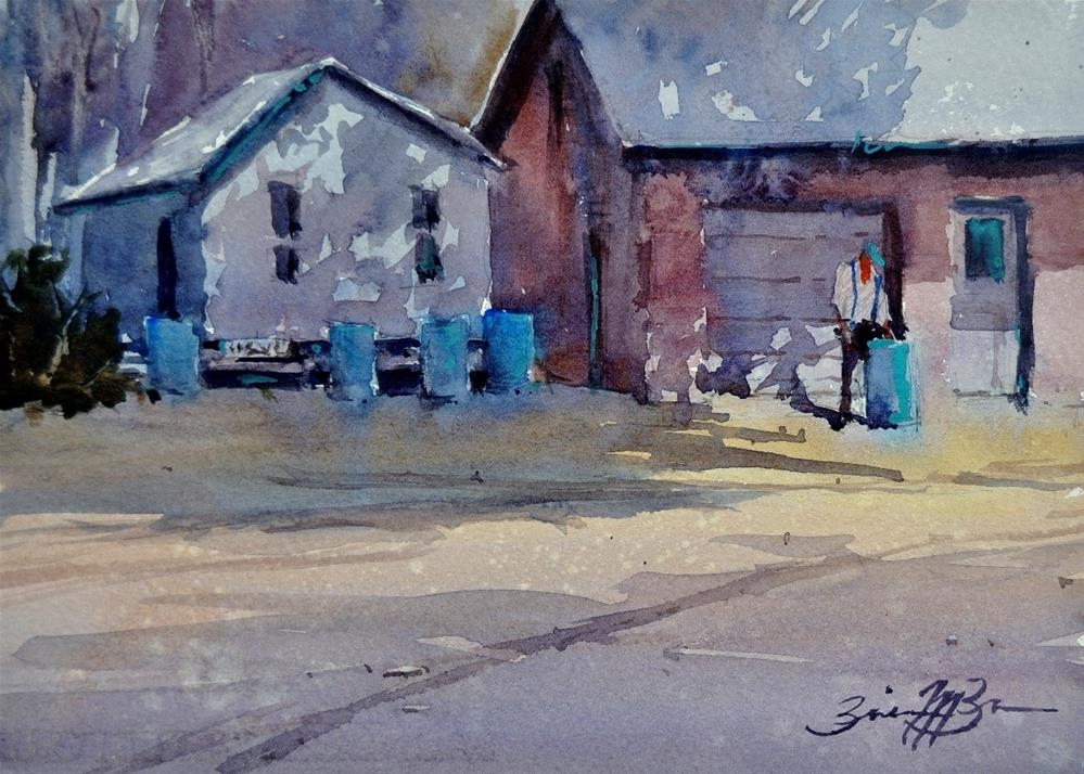 """Water Barrels"" original fine art by Brienne M Brown"
