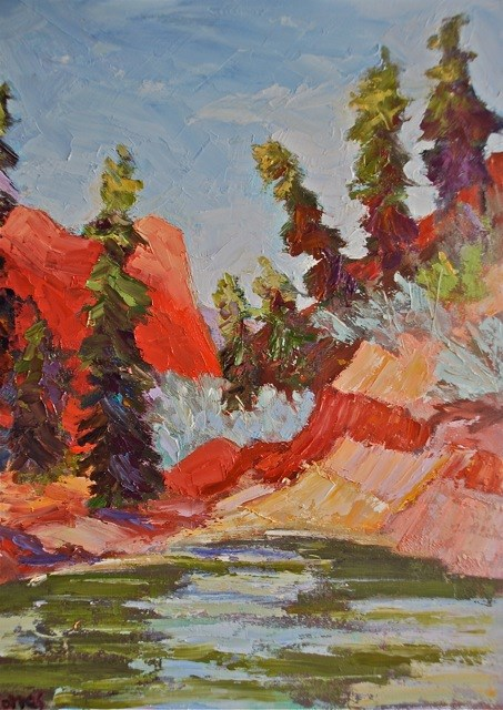 """Zion River Walk"" original fine art by Liz Zornes"