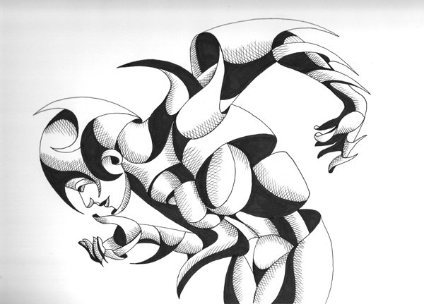"""Mark Webster - Nixie 12-01 - Abstract Geometric Figurative Ink Drawing"" original fine art by Mark Webster"