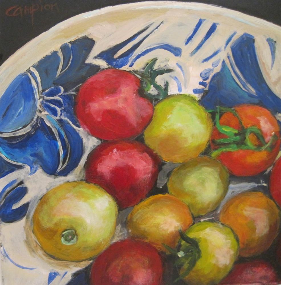 """453 Gems in a Morning Glory Bowl"" original fine art by Diane Campion"
