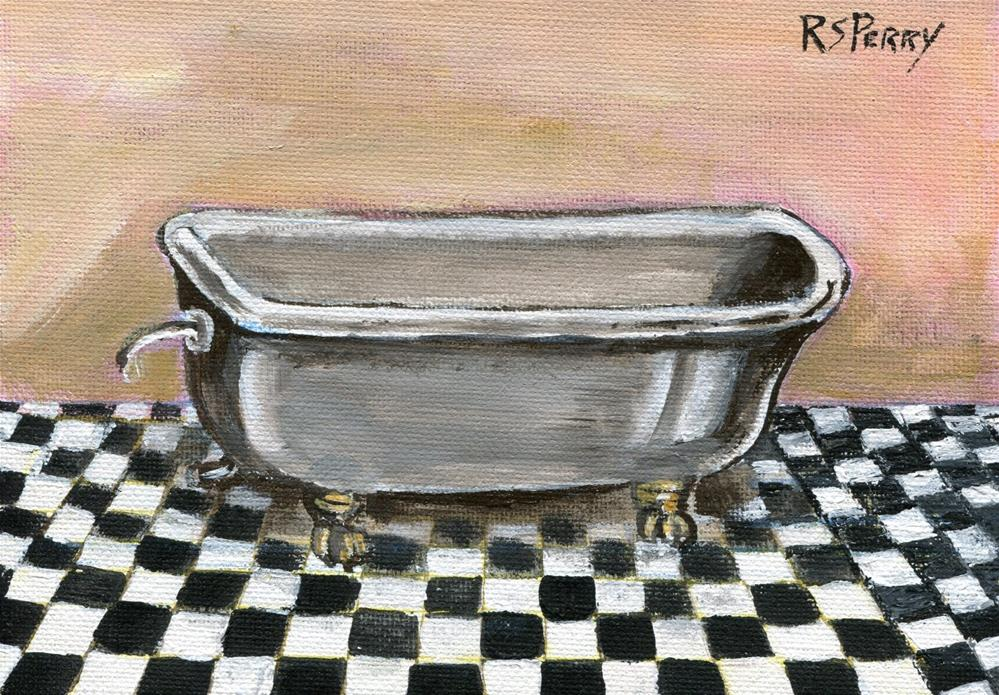 """clawfoot victorian bathtub"" original fine art by R. S. Perry"