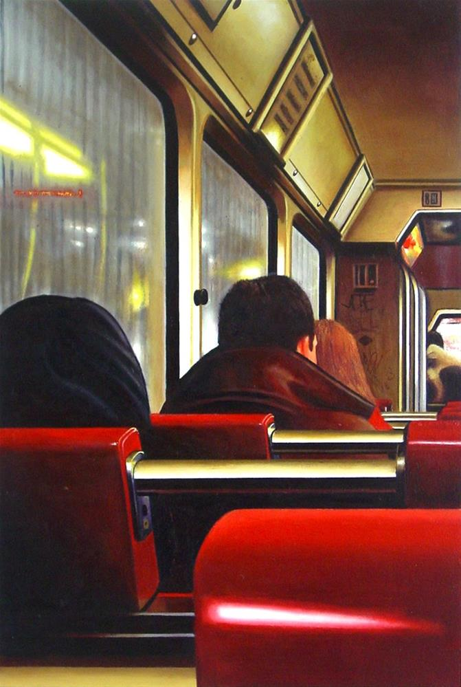 """Tram Interior- Painting Of People Riding Tram"" original fine art by Gerard Boersma"