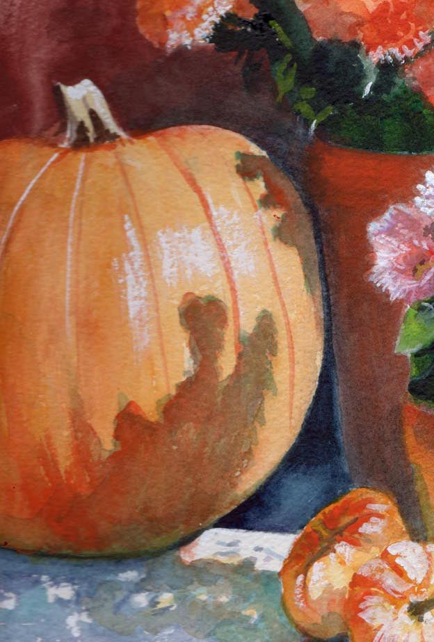 """""""Pumpkin and Mums"""" original fine art by Bunny Griffeth"""