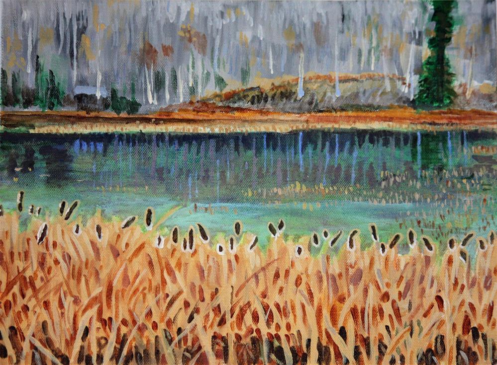 """""""Bullrushes In Late Autumn"""" original fine art by Terri-Anne Barge"""