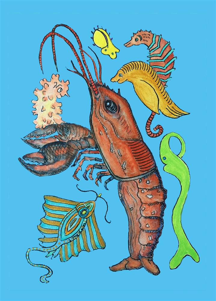 """Lobster Party"" original fine art by Susan Medyn"