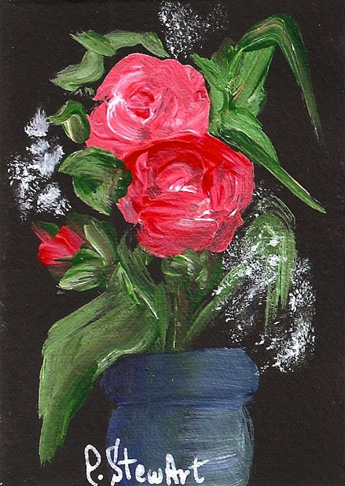 """ACEO, Red Roses on Black, in a Blue Vase, Acrylic on Gessoed background, Original"" original fine art by Penny Lee StewArt"