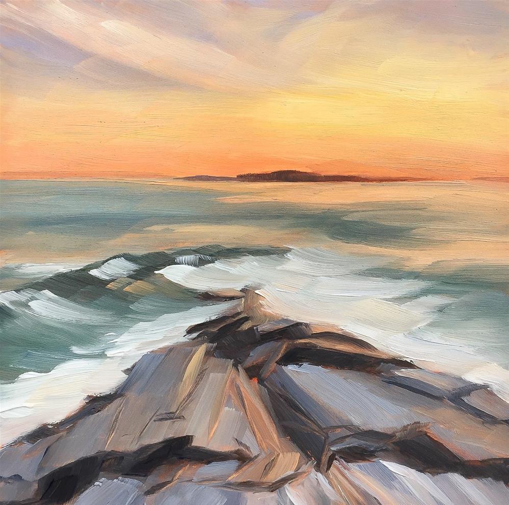 """#22 - Sunset - Two Lights State Park"" original fine art by Sara Gray"