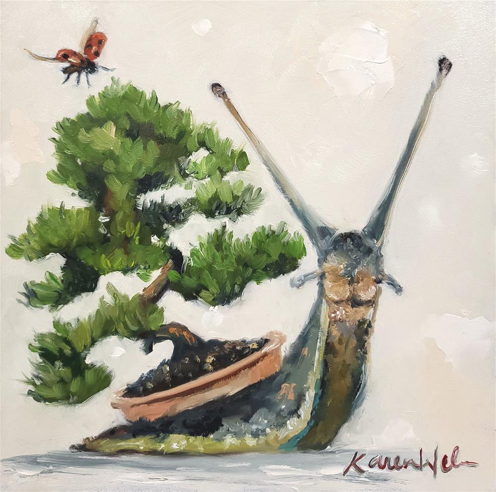 """""""Snail-Karoo Bonsai"""" original fine art by Karen Weber"""